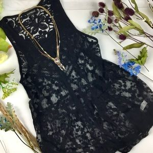 Express Black Laced Top Baby Doll Style